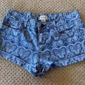 Forever 21 Patterned denim shorts